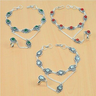 Wholesale 3Pc 925 Silver Plated Coral,emerald Bracelet-Ring Bridal Hathphoollot