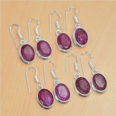 925 Silver Plated Wholesale 4 Pair Lot Faceted Red Ruby Hook Earring Jewelry