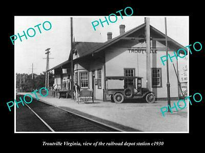 OLD LARGE HISTORIC PHOTO OF TROUTVILLE WEST VIRGINIA, THE RAILROAD DEPOT c1930
