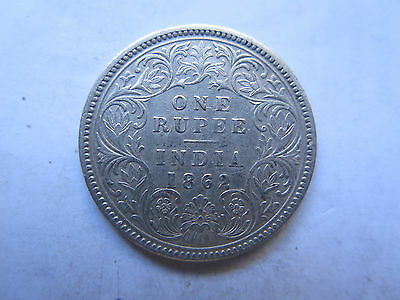 1862 INDIA SILVER 1 RUPEE in EXCELLENT CONDITION QUEEN VICTORIA