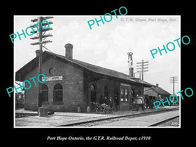 Old Historic Photo Of Port Hope Ontario Canada, View Of The Railway Station 1910