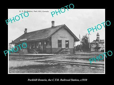 OLD HISTORIC PHOTO OF PARKHILL ONTARIO CANADA, VIEW OF THE RAILWAY STATION c1910