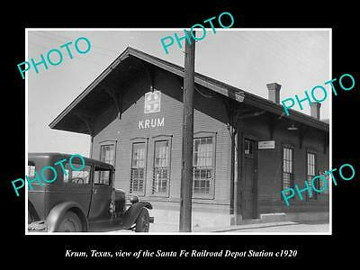 OLD LARGE HISTORIC PHOTO OF KRUM TEXAS, THE RAILROAD DEPOT STATION c1920