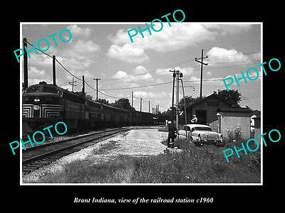 OLD LARGE HISTORIC PHOTO OF BRANT INDIANA, THE RAILROAD DEPOT STATION c1960 1