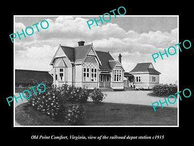 OLD LARGE HISTORIC PHOTO OF OLD POINT COMFORT VIRGINIA, THE RAILROAD DEPOT c1915