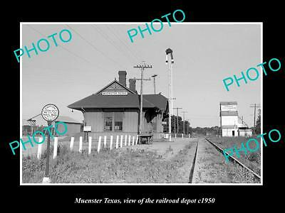 OLD LARGE HISTORIC PHOTO OF MUENSTER TEXAS, THE RAILROAD DEPOT STATION c1950