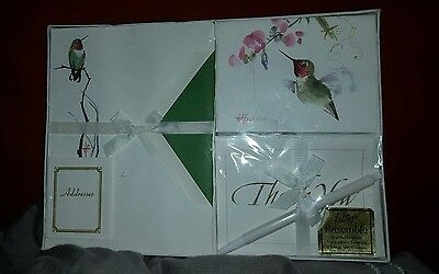 Vintage Whiting's Stationery Ensemble Set Hummingbird New In Sealed Pkg