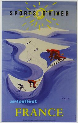 Image: Poster. Skiing, France (1950s). East Asia (1955). NOT ORIGINAL POSTER.