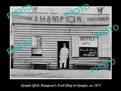 OLD LARGE HISTORIC PHOTO OF GYMPIE QLD, VIEW OF HAMPSONS FRUIT SHOP c1871