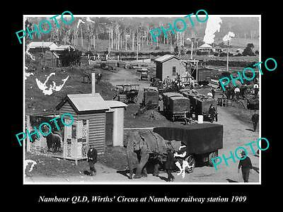 Old Large Historic Photo Of Nambour Qld, Wirths Circus At Railway Station 1909