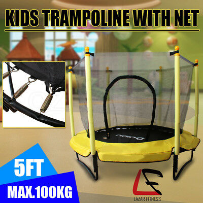 5FT Kids Round Trampoline With Safety Net Enclosure Spring Mat Outdoor Indoor OZ