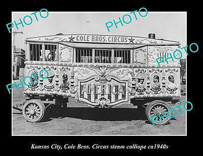 OLD LARGE HISTORIC PHOTO OF KANSAS CITY, COLE BROTHERS CIRCUS CALLIOPE c1940s
