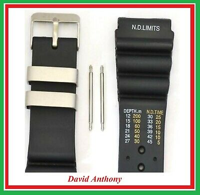 SALE - 24mm DIVERS WATCH STRAP, ND TIME, N D LIMITS, BLACK POLYURETHANE TPU,