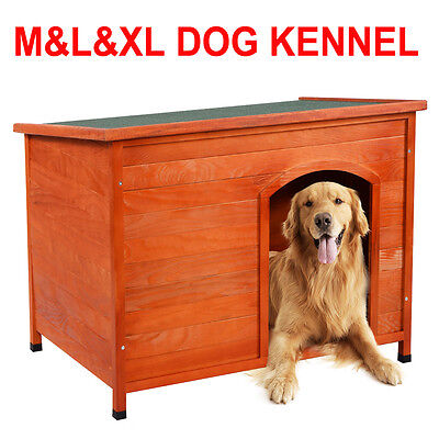 Wooden Dog Cage Insulated Kennel Removable Roof Outdoor Pet Puppy House M/L/XL