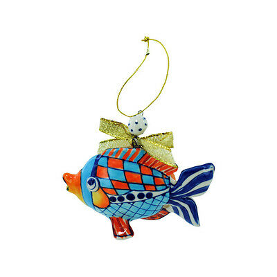 Hand Painted Giggle Fish Ornament Blue Sky Clayworks - Diane Artware Christmas