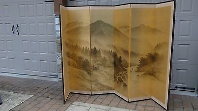 Antique Japanese Painted 6 Panel Screen Of Landscape Scene On Gold Silk,signed