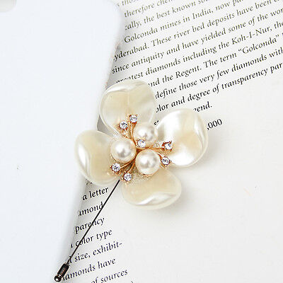 Mens Accessories Cubic Diamond Pearl Flower Boutonniere Brooch Lapel Pin Corsage