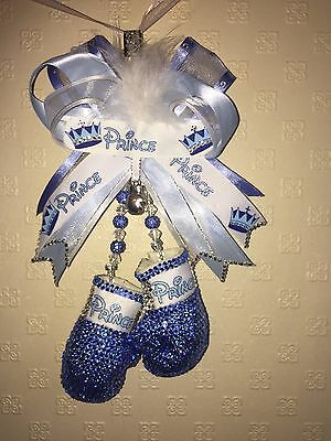 Romany bling Crystal Dummy Pair Of Boxing Gloves Pram Charm Baby Shower PRINCE