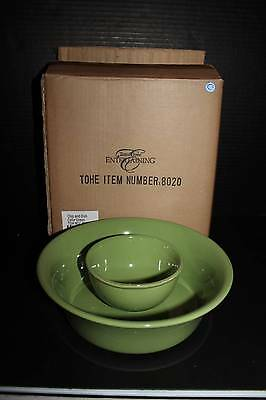 Southern Living / Willow House Gramercy Large & Small Bowls in Kiwi - NIB
