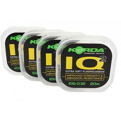 Korda NEW Carp Fishing IQ2 Flurocarbon Hooklink 20m *All Breaking Strains*