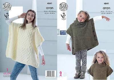 Ladies & Girls Fashion Aran Knitting Pattern Tabbard & Snood King Cole 4841