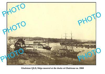 OLD LARGE PHOTO FEATURING GLADSTONE QUEENSLAND, SHIP MOORED AT WHARF c1868