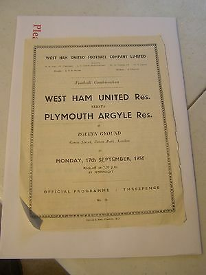 West Ham United reserves v Plymouth Argyle reserves  Combination 56/7 programme