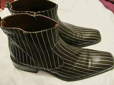 mens luciano bellini brown pinstripe chelsea boots uk 10