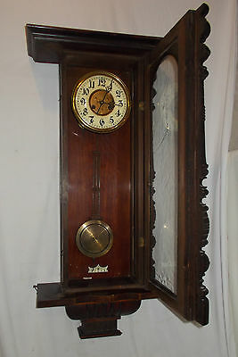 VINTAGE Wall CLOCK With Turned COLUMNS & Chime LARGE Antique VIENNA Style