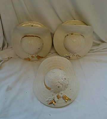 RARE Vintage RETRO SET Of 3 CERAMIC LADIES Summer HAT WALL POCKETS 22ct GOLD