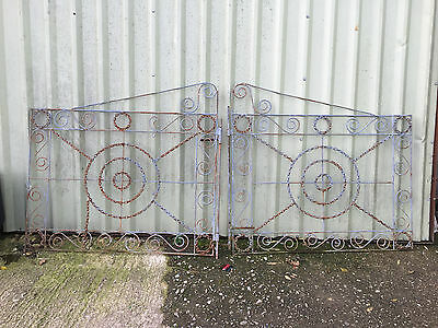 Vintage Hand Made Unique Metal Work Iron Gate Drive Driveway Security Gate 8ft