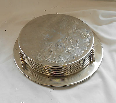 VINTAGE Retro SET Of 6 ENGRAVED Plated PLACE MATS COASTERS w/ STAND 19.5cm