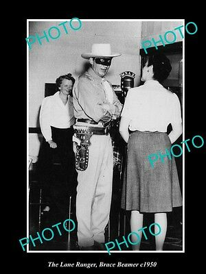 OLD HISTORIC PHOTO OF BRACE BEEMER AS THE LONE RANGER ON WNAX RADIO c1950 1