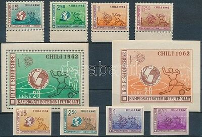 Albania stamp 1962 Football World Cup perf+imperf set + perf+ imperf block (49)