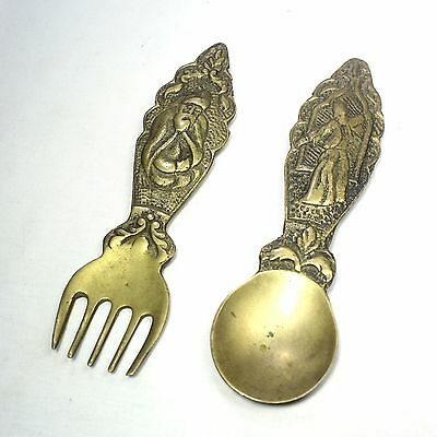 Vintage brass wall hanging Mevlana spoon and fork. Whirling Dervish Sufi dancer