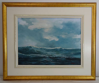 Original Signed Seascape Oil Painting by Merv Shaw Gold Frame Realistic!