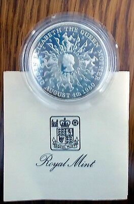 Queen Mother 80th Birthday Proof Commemorative Silver Crown in case