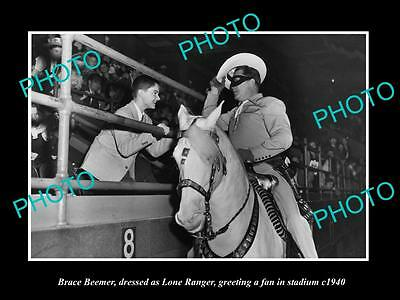 OLD LARGE HISTORIC PHOTO OF BRACE BEEMER AS THE LONE RANGER IN STADIUM c1940