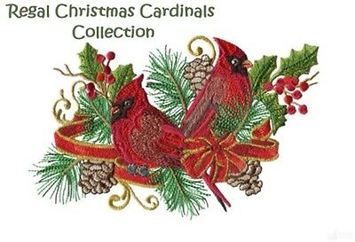 Regal Christmas Cardinals Collection - Machine Embroidery Designs On Cd