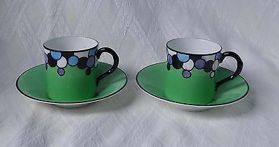 RARE. 2 x ROYAL WORCESTER BUBBLES  COFFEE CUP AND SAUCERs .. ART DECO  1928
