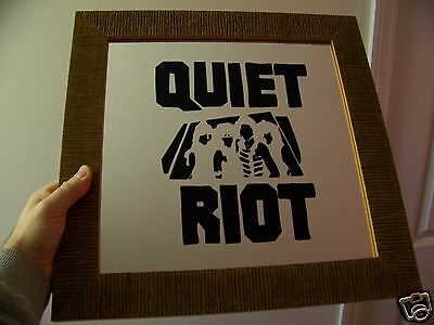 Vintage 80s QUIET RIOT 15X15 Wood Framed Carnival Prize Painted Glass Bar Mirror