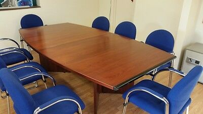 8 Seat Dark Wooden Boardroom Table With 8 Used Blue Chairs - UK Delivery Availab