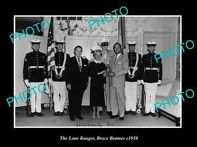 OLD HISTORIC PHOTO OF BRACE BEEMER AS THE LONE RANGER AT THE WHITE HOUSE c1950