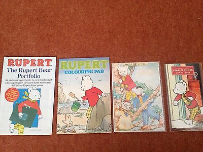 Rupert The Bear Portfolio Leaflet, Colouring Pad, Greetings Card And Diary