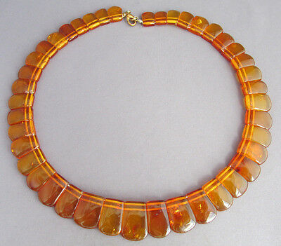 Vintage Retro Geometric Shape Baltic Amber Bead Choker Necklace 16""