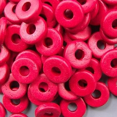 8mm Greek Disk Beads 2.7mm Hole Red G18 Narrow Rondelle Spacer Ceramic Thin Disc