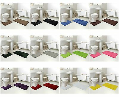 2 Piece Bath Mat Sets Washable Mats & Pedestal Non Slip Bathmats Bathroom Set
