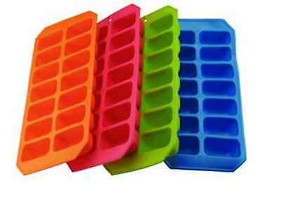 Silicone Soft Splash Ice Cube Tray Flexible With Various Colour - 1 X Assorted