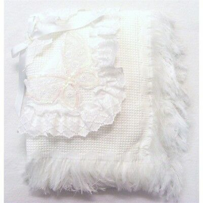 Stunning Romany Spanish Style White Butterfly Motif Frilly Lace Baby Shawl
