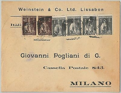 58256 -  PORTUGAL  - POSTAL HISTORY: COVER to ITALY - 1920'S - NICE FRANKING